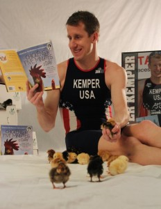 "Hunter does another read of our book, ""Chickens in Five Minutes a Day""."