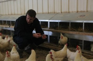 Hunter tours one of our many flock farms.